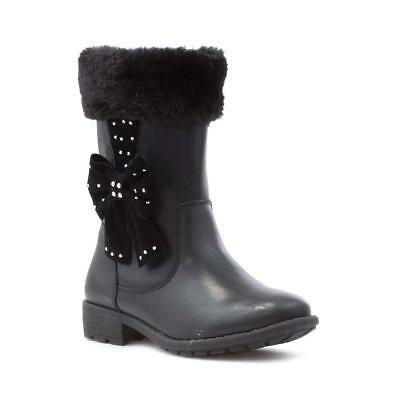 Walkright Girls Black Bow Faux Fur Calf Boot - Sizes 6,7,8,9,10,11,12,13,1,2