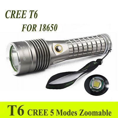 Tactical XM-L T6 LED Flashlight Powerful 10000LM Silver Waterproof Torch Lamp