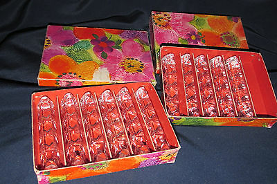 Antique 11x. Art Glass Knife Rests Sunburst Pattern on Base & Boxes Ea.9CmL