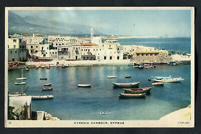 Posted C1957: Boats, Kyrenia Harbour, Cyprus