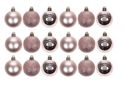 18x 5cm Rose Gold Plastic Christmas Tree Bauble Ornament Decoration Glitter Xmas