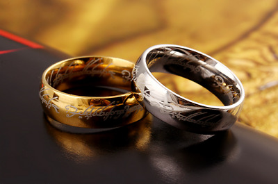 Mens Lord Vintage Stainless Steel Rings Bilbo's Hobbit Ring Gold Silver Band