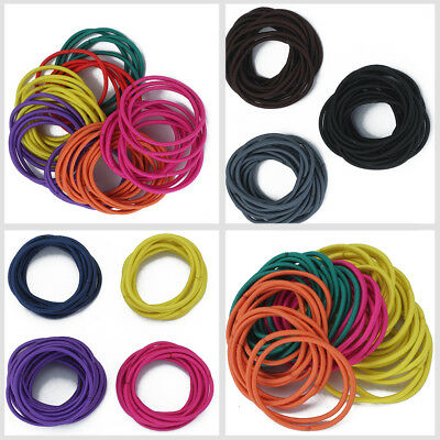 50pc Quality Thick Endless Snag Free Hair Band Elastics Bobbles Bands Ponios Mix