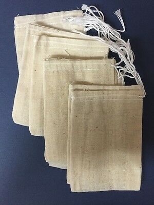 Bags (10) Muslin White String Only 3 X 4 In.