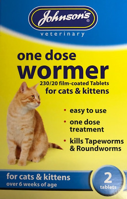"One Dose Wormer For Cats & Kittens Kills Tapeworms & Roundworms ""johnsons"""
