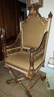 Antique Late 18th / Early 19th c.carved Wooden Real Throne Chair !!!!!