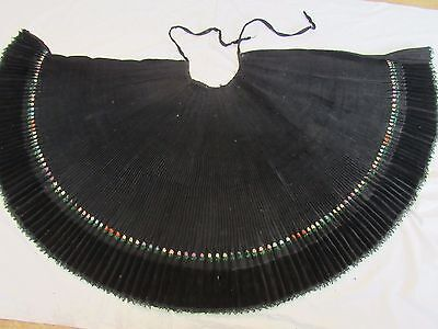 Hand Embroidered Skirt Antique Ladies Folk Costume Lace Pleated Wool&velvet #art