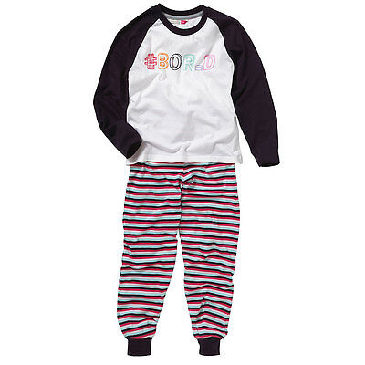 Cozy n Dozy Girls # Hashtag Bored Top & Leggings Pyjama Set Varsity Sport Style