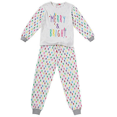Cozy n Dozy Girls Christmas Tree Merry & Bright Top and Leggings Pyjama Set