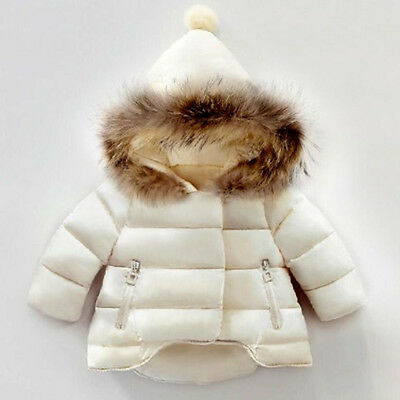 Girls baby short zip parka Quilted Puffer coat jacket fur hooded Padded Black
