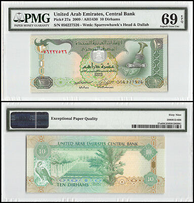 United Arab Emirates - UAE 10 Dirhams, 2009, P-27a, Sparrowhawk's Head, PMG 69