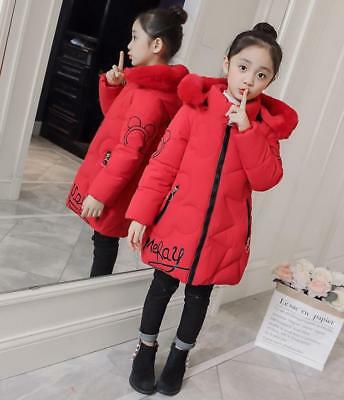 Girls Kids Padded Floral Quilted Winter Coat Jacket Puffer Fur Hooded Long Parka