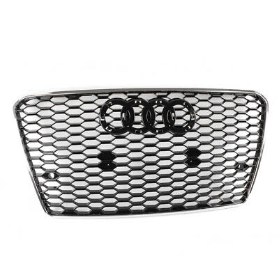 Front Rs7 Style Mesh Hex Grille Black/chrome Trim For 2012-2015 Audi A7/s7 C7