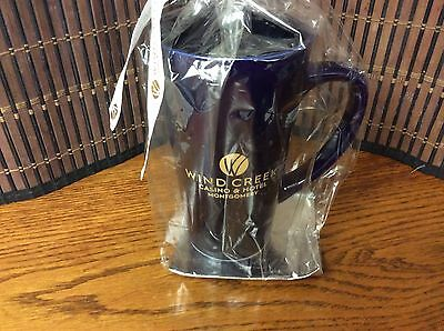 "Coffee Cup Wind Creek 12 oz blue ""Wind Creek Casino and Hotel"" new 36"