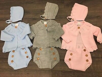 Baby babies girl girls 3 PIECE outfit long sleeved knitted pants jacket bonnet