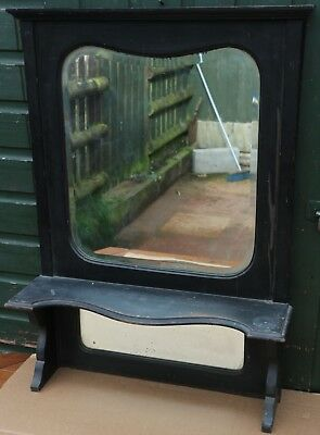 Old Overmantle Type Mirror With 2 Bevel Edge Mirror Glass & Shelf To Tidy Up