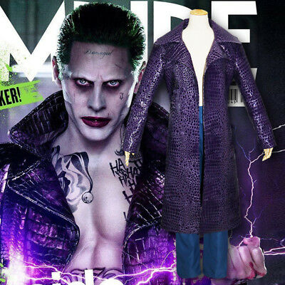 Jared Leto Joker Coat Jacket Pants Outfit Cosplay Costume Suicide Squad Trench
