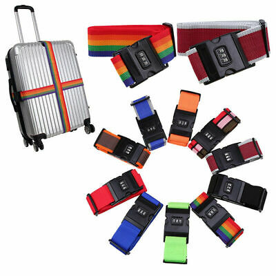 Luggage Strap Colorful Suitcase Baggage Cross Strap Belt With Secure Coded Lock