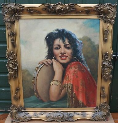Very Large Gilt Framed Painting On Canvas Of A Gypsy Type Girl By A Davis