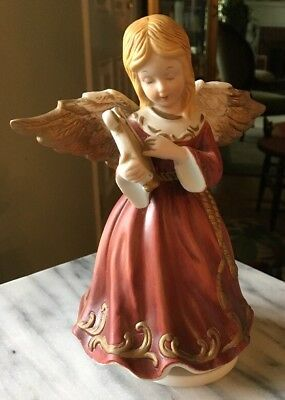 "7.5"" Beautiful Porcelain Musical Harpist Angel Plays White Christmas"