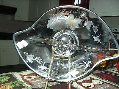 Antique Siver Overlay  New Martinville Glass Co (36-39) Candy/ Relish Dish