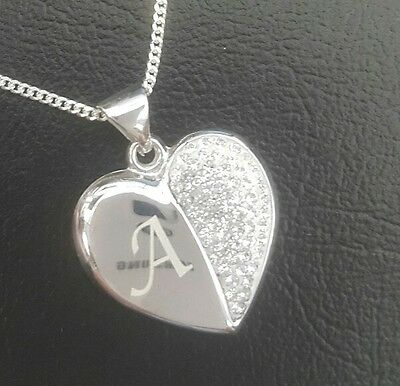 "Personalised 925 Silver Heart Pendant + 18"" Silver Chain Crystal Set Boxed Gift"