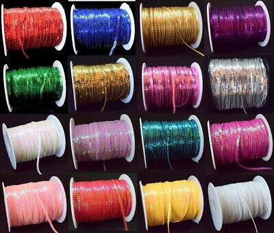 25 COLOURS 3mm Sequin Trim 2M 5M 10M String Round Sequins Sewing Craft Costume