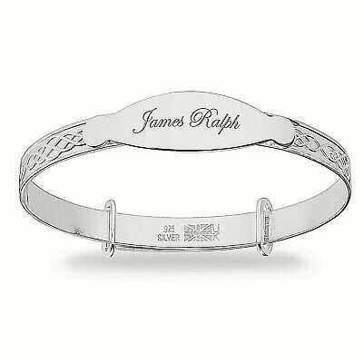 Personalised 925 Sterling Silver Christening Baby Girl Bangle Engraved Bracelet
