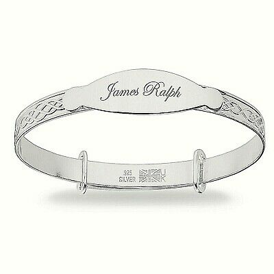 Personalised Real Silver Baby Bangle Expanding Christening Bracelet Engraved