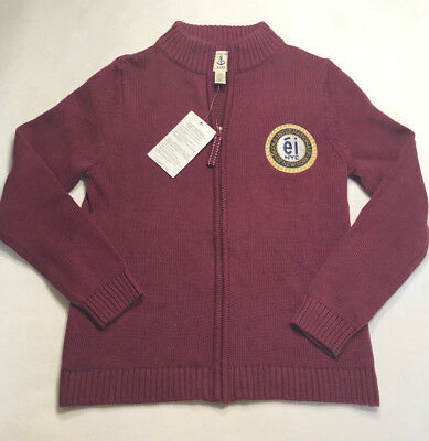 NWT Boys Girls 7 8 Lands End Kids Burgundy Zip Up Cardigan Sweater EINY Uniform