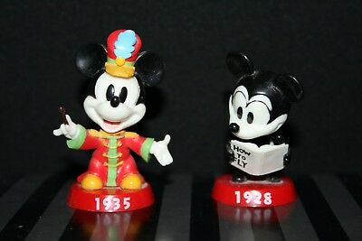 """DISNEY Mickey Mouse 2 inch Bobbleheads """"1935"""" and """"1928"""" (out of box)"""