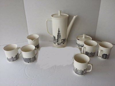8 piece VILLEROY & BOCH LUXEMBOURG AMSTERDAM TEAPOT COFFEE CUPS SUGAR BOWL CAFE