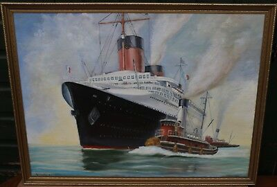 Large Gilt Framed Painting On Board Of A Ship Normandie By Gallagher R.r.