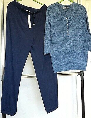 NWT Blue Marled Cotton Sweater & Matching Soft As Butter Pants Size Large Macys
