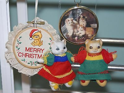 Vintage CAT Christmas Ornaments- Peter Bates- Embroidery Hoop- Porcelain Heads