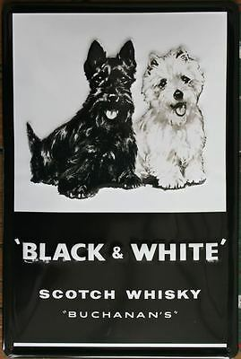 BLACK & WHITE, Scotch Whisky, Blechschild, NEU