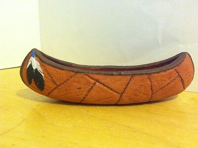 VINTAGE CERAMIC CANOE, FEATHER ON BOW OF CANOE, Indian Brown Ceramic Boat Ship