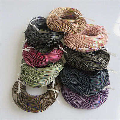 1/3/5M 2mm Round Soft Slippy Real Genuine Leather Cord String For Jewelry Making