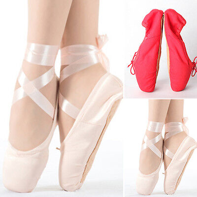 Child Kids Ladies Comfy Satin Pointe Shoes Women Ballet Dance Toe shoes US Size