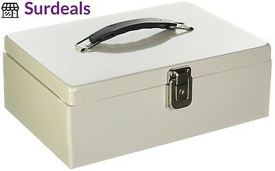 Buddy Products Metal Cash Box with Handle,Steel, 7.75 x 4 11-Inch, Platinum...