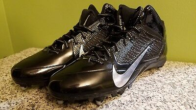 Nike Alpha Pro Flywire 3/4 D Football Cleats Black Silver Size 14 US 599025-002