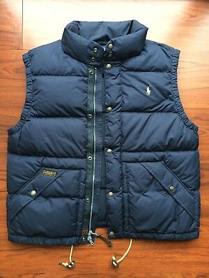 Polo Ralph Lauren Down Feather Puff Navy Blue Vest with Leather pulls-Men's XL