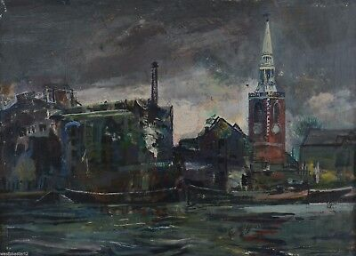 """Kenneth Green 1905-86 RA 28x40"""" River Landscape Oil Painting London British"""