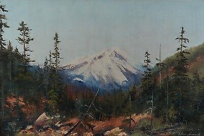 Rose Leonard Mountain Landscape Painting Canadian Alberta Listed 1916-2005 20x30