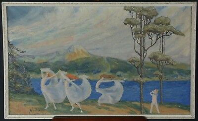 Neuburger Art Nouveau Neo Classical Oil Painting Three Graces 1929