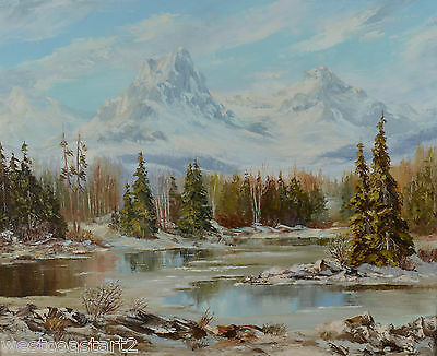 Elaine Fleming Oil Painting Bow River Mountain Landscape Alberta Listed Artist