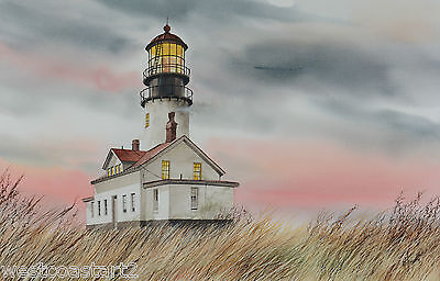 James Williamson Original Watercolor Painting Cape Flattery Lighthouse American