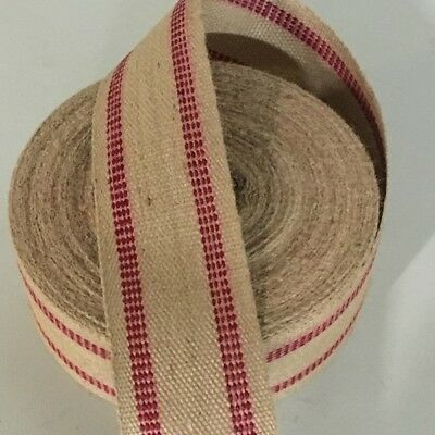 10 Yards Red Line Stripe Jute Chair Seat Webbing Upholstery Supplies Free Ship!