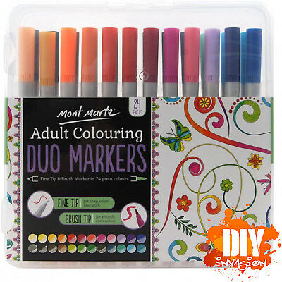 Mont Marte Adult Colouring Duo Markers Fine & Brush Tip 24pc 0.8mm & 3.75mm