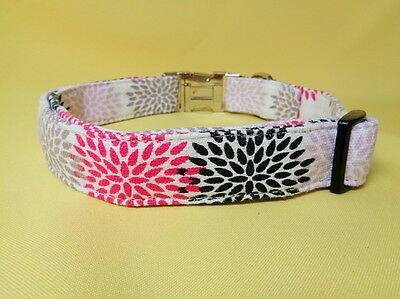 Pink Black canvas dog COLLAR strong METAL CLIP adjust small medium extra large